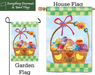 Basket for the Bunny Breeze Art garden flag and house flag combo image made by Everything Doormats.