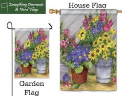 Blossom Bucket Breeze Art garden flag & house flag combo image created by Everything Doormats.