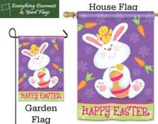 Bunny & Chick Breeze Art garden flag and house flag combo image made by Everything Doormats.