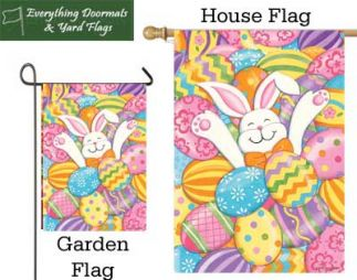 Bunny Eggs garden flag and house flag combo image made by everything Doormats.