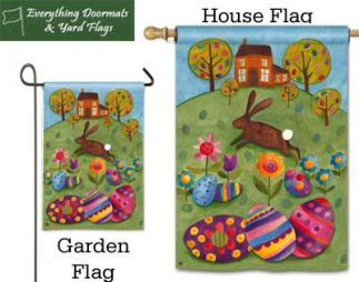 Busy Bunny Breeze Art garden flag and house flag combo image made by Everything Doormats.
