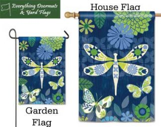 Capistrano Dragonfly Breeze Art garden flag and house flag combo image made by everything doormats.