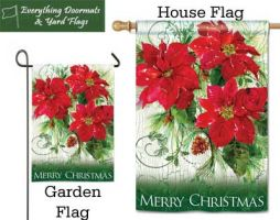 Christmas Poinsettias Breeze Art garden and house flag combo image.
