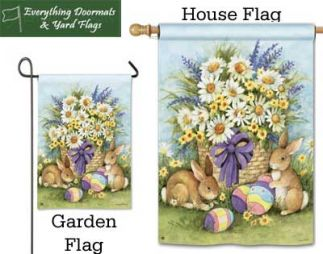 Easter Bunnies Breeze Art garden flag and house flag combo image made by Everything Doormats.