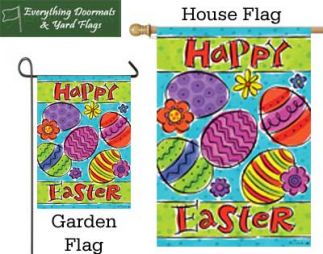 Easter Egg Toss garden flag and house flag combo image made by Everything Doormats.