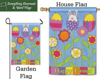 Easter Garden Breeze Art garden flag and hosue flag combo image made by Everyhting Doormats