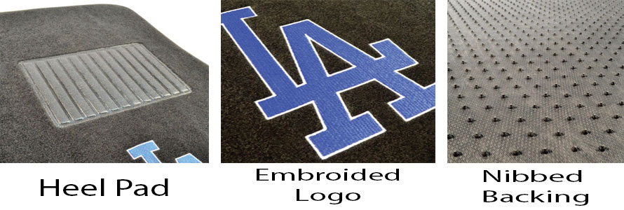 Image that depicts in close ups the heel pad, embroidery and nibbed backing for our embroidered car floor mats.