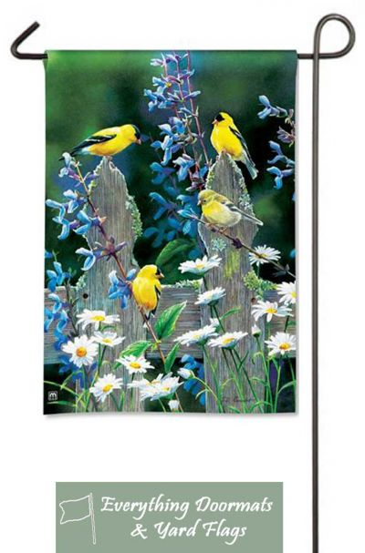 """Finch Fencepost Pair Breeze Art 12.5"""" x 18"""" garden flag made by Magnet Works image by Everything Doormats."""
