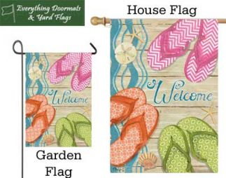 Flip Flop Welcome garden flag and house flag combo image made by Everything Doormats.
