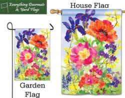 Garden Blooms Breeze Art garden flag & house flag combo image created by Everything Doormats.