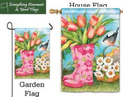 Garden Boots Breeze Art garden flag & house flag combo image created by Everything Doormats.