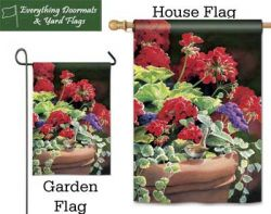 Geranium Visit Breeze Art garden flag & house flag combo image created by Everything Doormats.