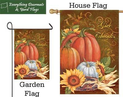 Give Thanks Medley garden flag and house flag combo image by Everything Doormat.