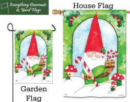 Gnome for the Holidays Breeze Art garden flag and house flag from Everything Doormats.