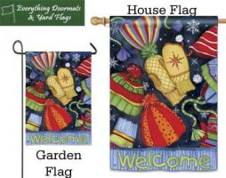 Hats & Mittens Breeze Art garden flag and house flag combo image by Everything Doormats
