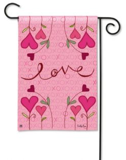 Hugs & Kisses Breeze Art garden flag that is 12.5