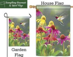 Hummingbird Heaven Breeze Art garden flag & house flag made by Magnet Works, image by Everything Doormats.