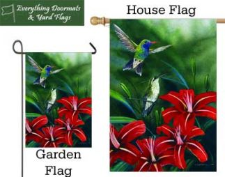 Hummingbird Pair garden flag and house flag combo image by everything Doormats.