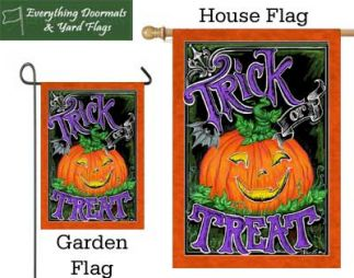 Jack O'Lantern garden flag and house flags pictured together.