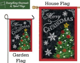 Merry Christmas Tree 300 denier polyester garden flag & house flags.