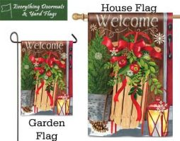 Mountain Cabin Sled Breeze Art garen flag and house flag combo picture.