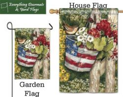 Patriotic Pail Breeze Art garden flag & house flag combo image created by Everything Doormats.
