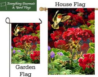 Ruby Red Hummer garden flag and house flag combo image made by Everything Doormats.