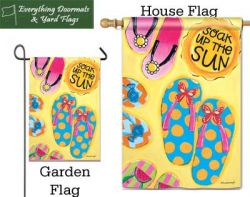 Soak up the Sun Breeze Art garden flag & house flag combo image created by Everything Doormats.