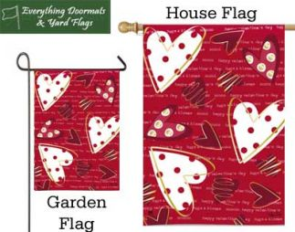 Valentine Hearts Breeze Art Garden Flag and House flag combo image by Everything Doormats.
