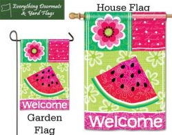 Watermelon Welcome Breeze Art garden flag & house flag combo image created by Everything Doormats.